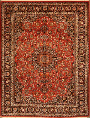 Antique Mashad rug by the master weaver Hosseini