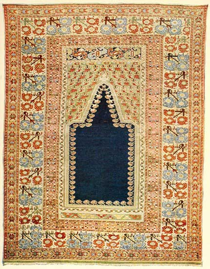 ANTIQUE GHEORDEZ prayer rug